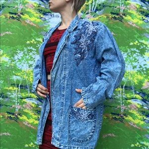 vintage 80s 90s acidwash duster floral detail